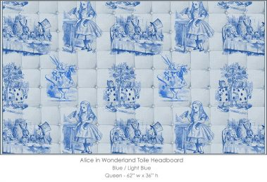 Casart coverings Alice in Wonderland HEADBOARD_Queen100_blue-ltblue