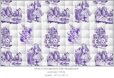 Casart coverings Alice in Wonderland HEADBOARD_Queen_lavender-white
