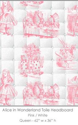 Casart coverings Alice in Wonderland HEADBOARD_Queen_pink-white