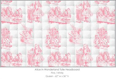 Casart coverings Alice in Wonderland HEADBOARD_Queen_pink-white