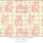 Casart coverings Alice in Wonderland HEADBOARD_Queen_pink-yellow
