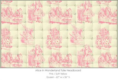 Casart coverings Alice in Wonderland HEADBOARD_Queen_pink-yellow