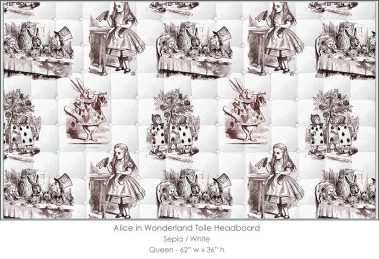 Casart coverings Alice in Wonderland HEADBOARD_Queen_sepia-white