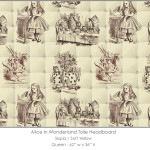 Casart coverings Alice in Wonderland HEADBOARD_Queen100_sepia-yellow