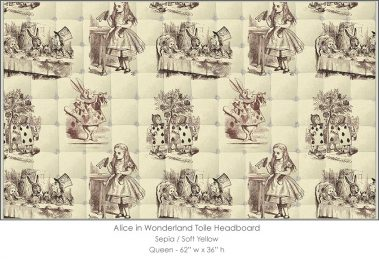 Casart coverings Alice in Wonderland HEADBOARD_Queen100_sepia-yellow