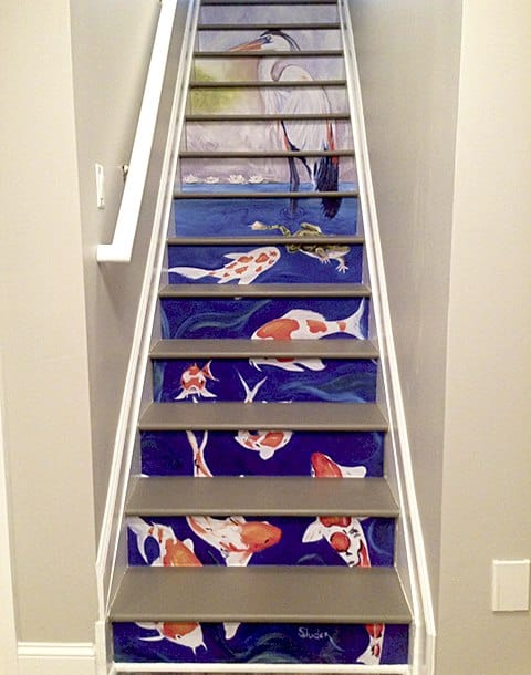 Ginger Sluder Artwork as Custom Casart Stair Riser removable wallpaper Mural Installed