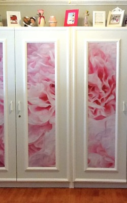 SUCustomer Cabinets After Ann Alger White-Pink-Peonies from Casart removable wallcoverings