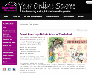 Casart coverings Alice in Wonderland Collection debuts on Your Decorating Resource blog