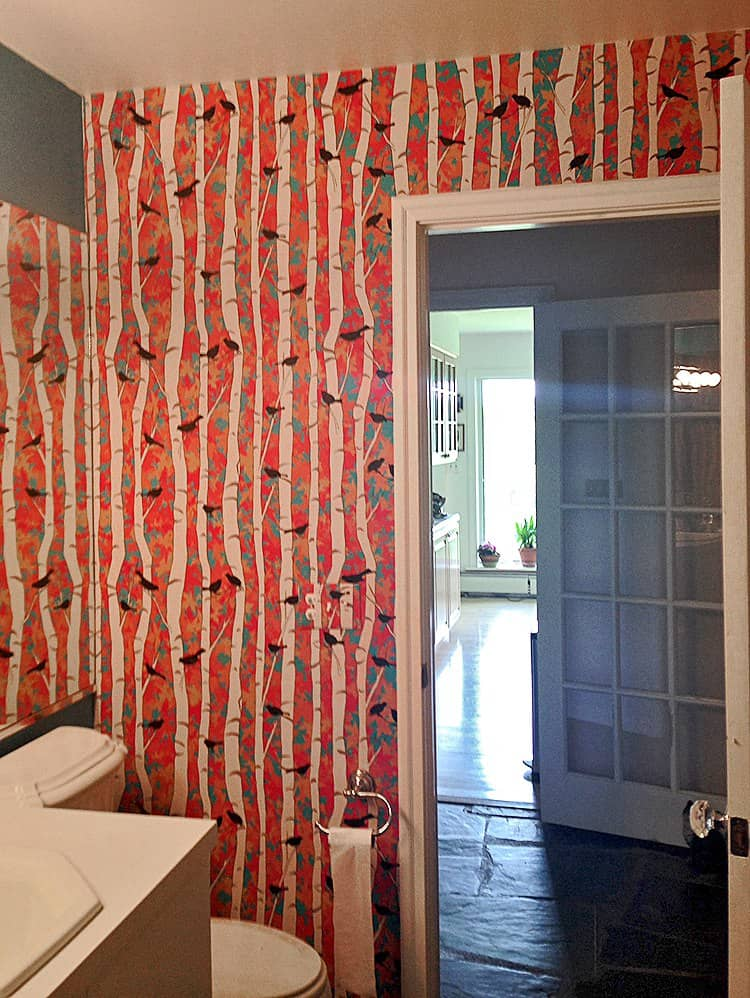 Casart Coverings Birds and Birch customer installation removable wallpaper bathroom