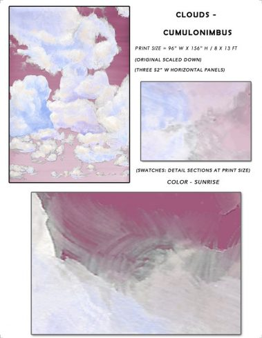 1_Casart coverings Ceiling Cumulonimbus Sunrise Cloud Sample_temporary wallpaper