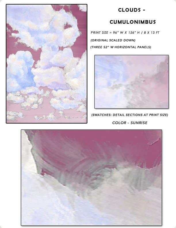 1_Casart coverings Ceiling Cumulonimbus Sunrise Cloud Sample_temporary wallpaper