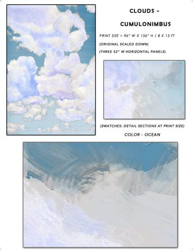4_Casart coverings Ceiling Cumulonimbus Clouds Ocean Sky Sample_temporary wallpaper