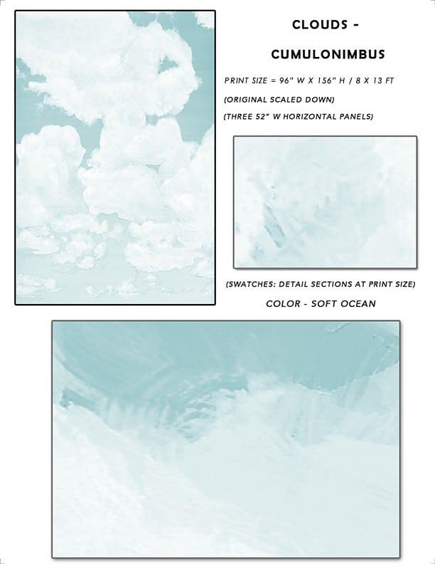 5_Casart coverings Ceiling Cumulonimbus Clouds Soft Ocean Sky Sample_temporary wallpaper