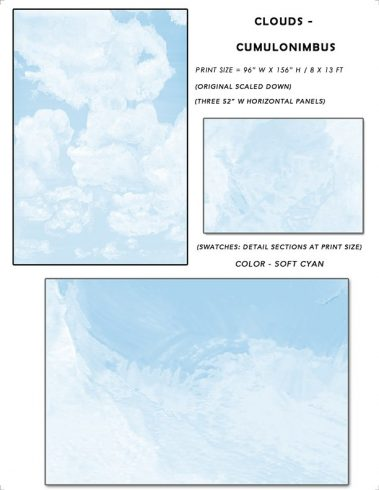 6_Casart coverings Ceiling Cumulonimbus Clouds Soft Cyan Sky Sample_temporary wallpaper