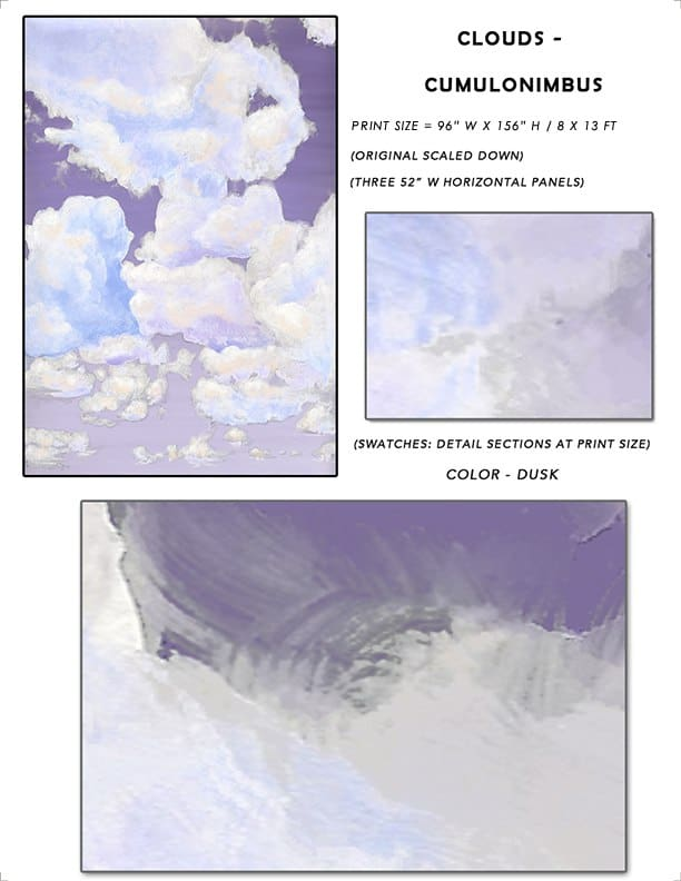 7_Casart coverings Ceiling Cumulonimbus Clouds Dusk Sky Sample_temporary wallpaper