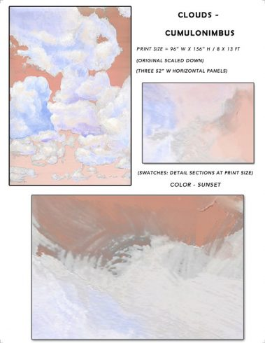 8_Casart coverings Ceiling Cumulonimbus Clouds Sunset Sky Sample_temporary wallpaper
