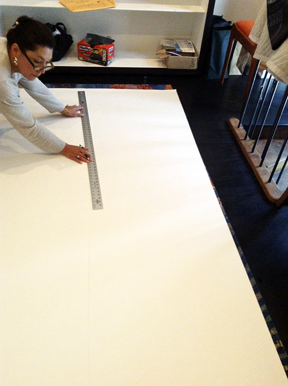 Step 3 Casart coverings Orange Faux Linen temporary wallpaper Installation