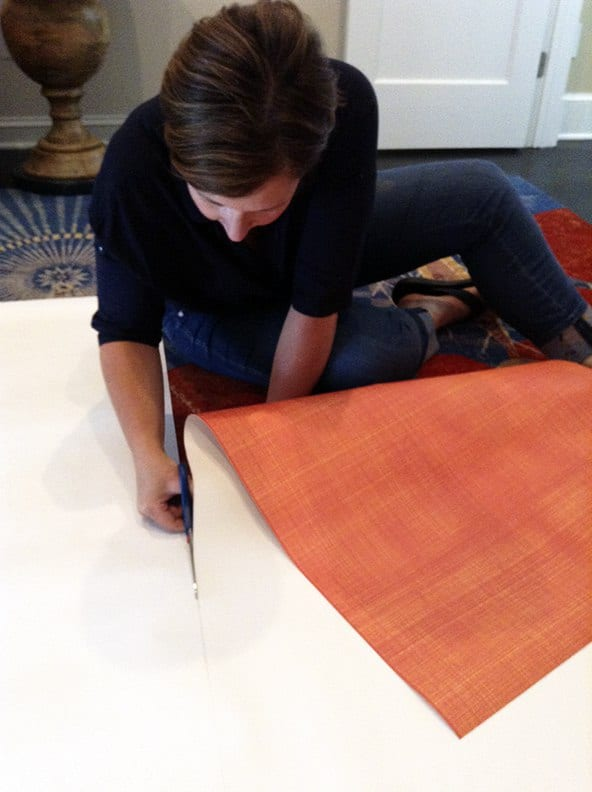 Step 4 Casart coverings Orange Faux Linen temporary wallpaper Installation