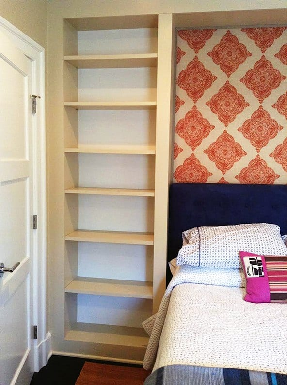 Bookcase before Casart coverings Orange Faux Linen temporary wallpaper Installation