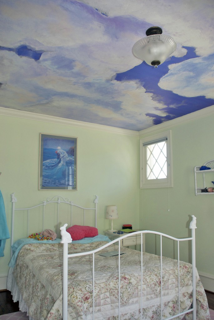 Ceiling Clouds RmView3 After Casart coverings temporary wallpaper