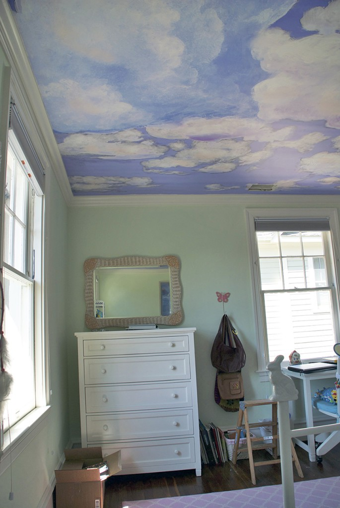 Ceiling Clouds RmView4 After Casart coverings temporary wallpaper