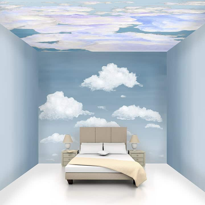 Casart Coverings Ombre Gradient and Cloudy Stratocumulus and Ocean Ceiling Cumuloninbus Cloud Room