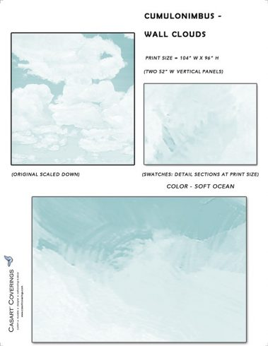 Casart coverings_Cumuloninbus_Wall Cloud Soft Ocean Sample_temporary wallpaper