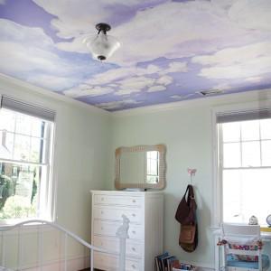 Example_Casart coverings Client_Custom Ceiling Cumuloninbus Clouds temporary wallpaper Room View_temporary wallpaper