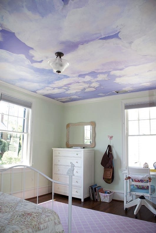 Example_Casart Coverings Client_Custom Ceiling Cumuloninbus Clouds temporary wallpaper bedroom