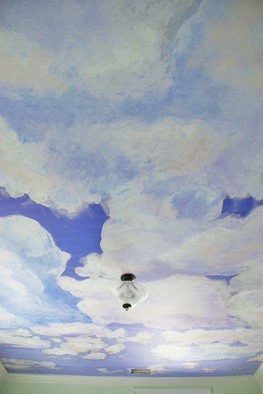 Example_Casart coverings Client_Custom _Full Ceiling Cumuloninbus Cloud temporary wallpaper