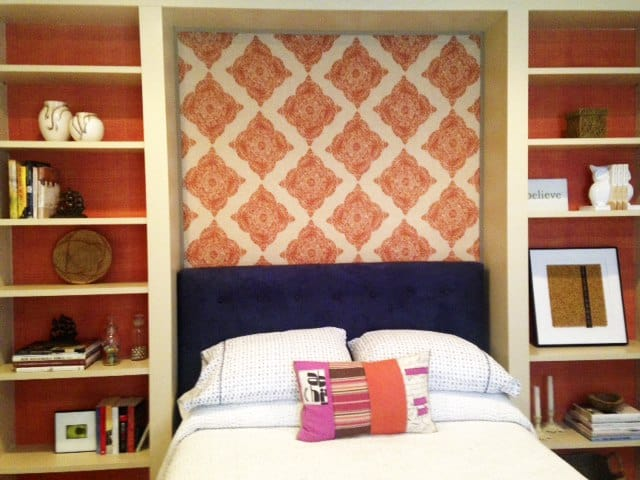 Casart coverings Orange Faux Linen bookcase bacing temporary wallpaper