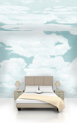 Casart coverings Ocean Gradient with ceiling and wall Cumuloninubus Clouds room view
