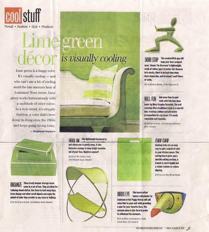 Casart coverings Mary Douglas Drysdale Federal Green Faux Linen temporary wallpaer featured in Times Picayune