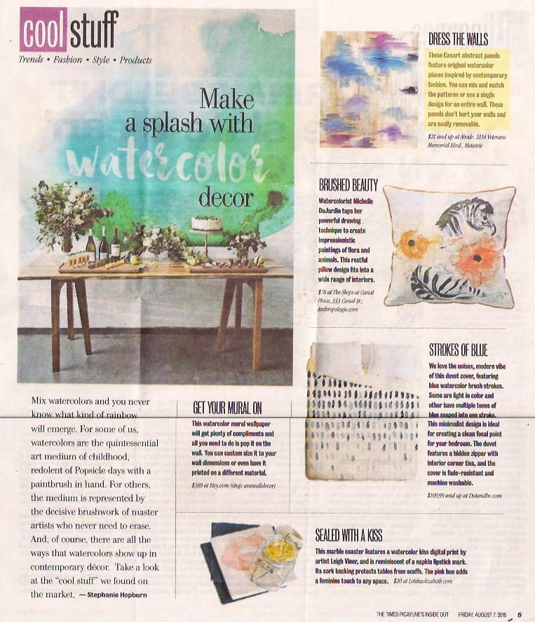 Casart coverings Abstract Mural Panel temporary wallpaer featured in Times Picayune
