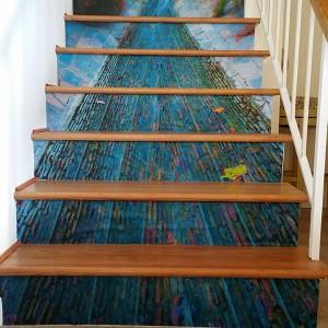 Casart coverings customer creek custom Photo Stair Riser Mural temporary wallpaper