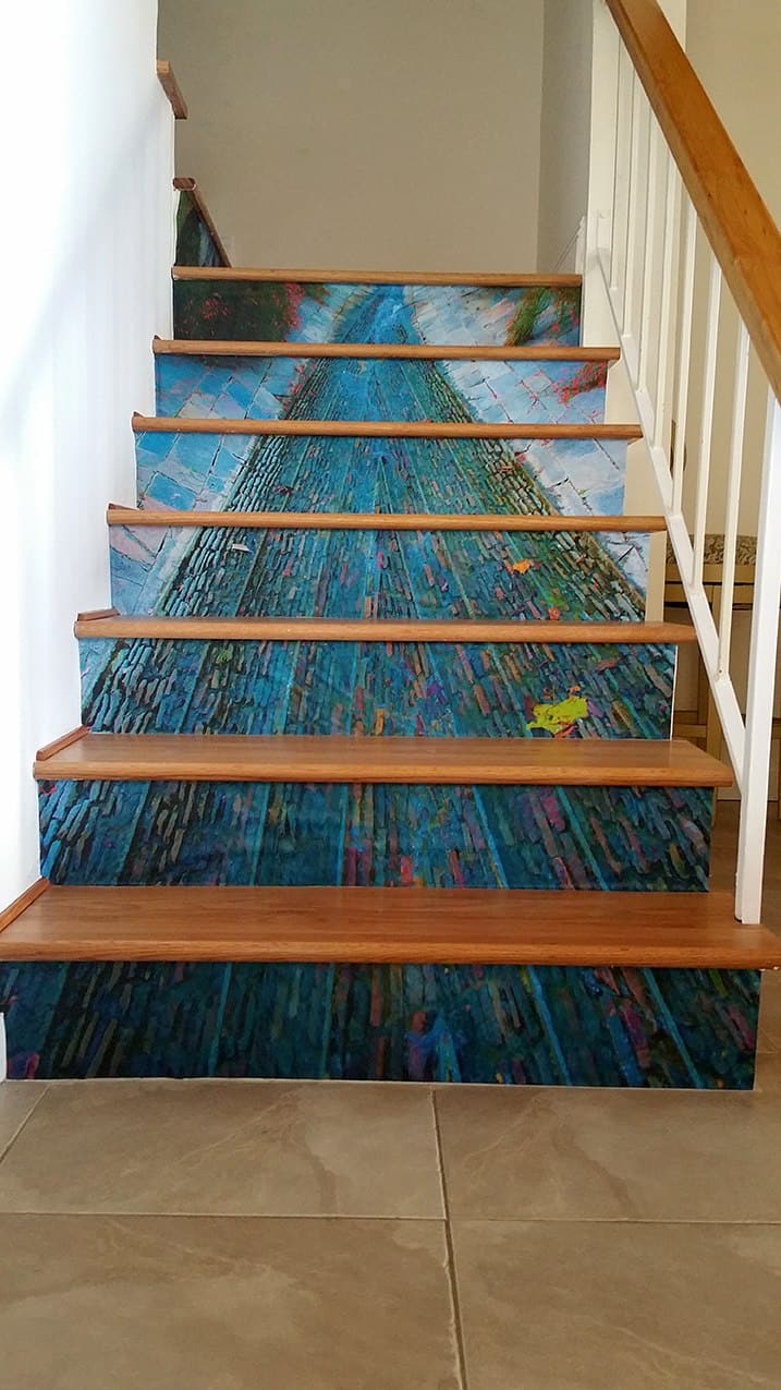 Casart coverings custom creek stair mural temporary wallpaper