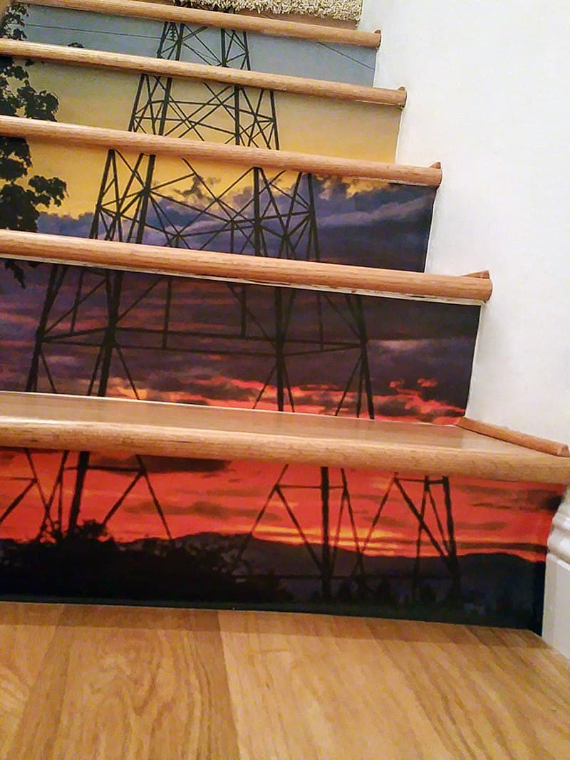 Casart coverings custom Sunset Tower stair mural temporary wallpaper
