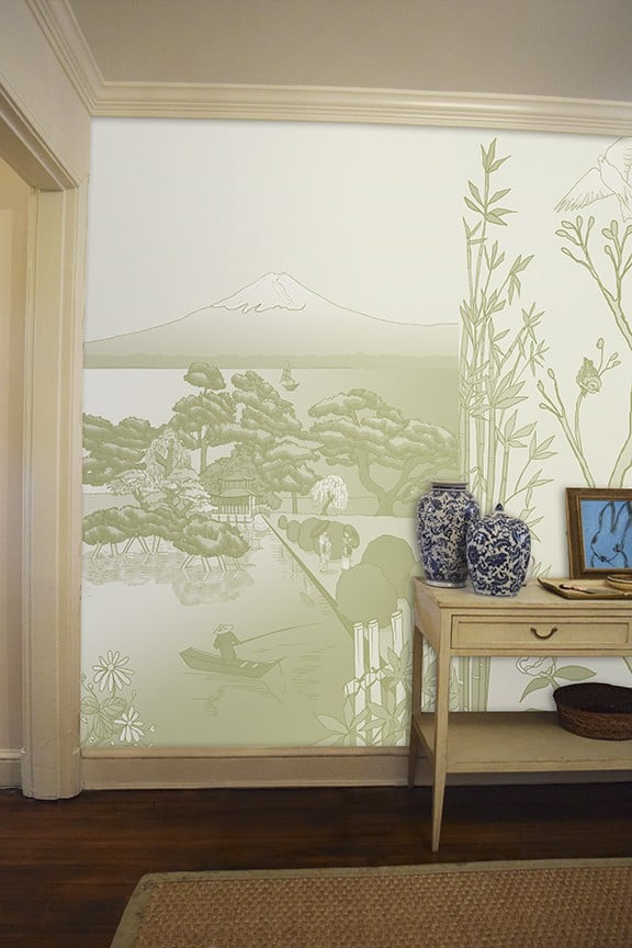 Casart coverings Japan Celadon with Chinoiserie Panel 1 Murals temporary wallpaper Room View