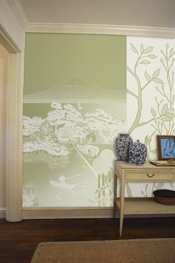 Casart coverings Japan Reverse Celadon with Chinoiserie Panel 5 Murals temporary wallpaper Room View