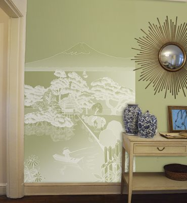 Casart coverings Japan Reverse Celadon with on same colored wall temporary wallpaper Room View