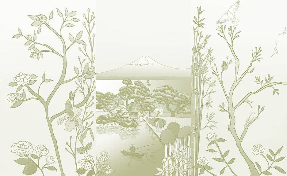Casart coverings_Chinoiserie-Japan Mural Celadon Gradient Combo_temporary wallpaper