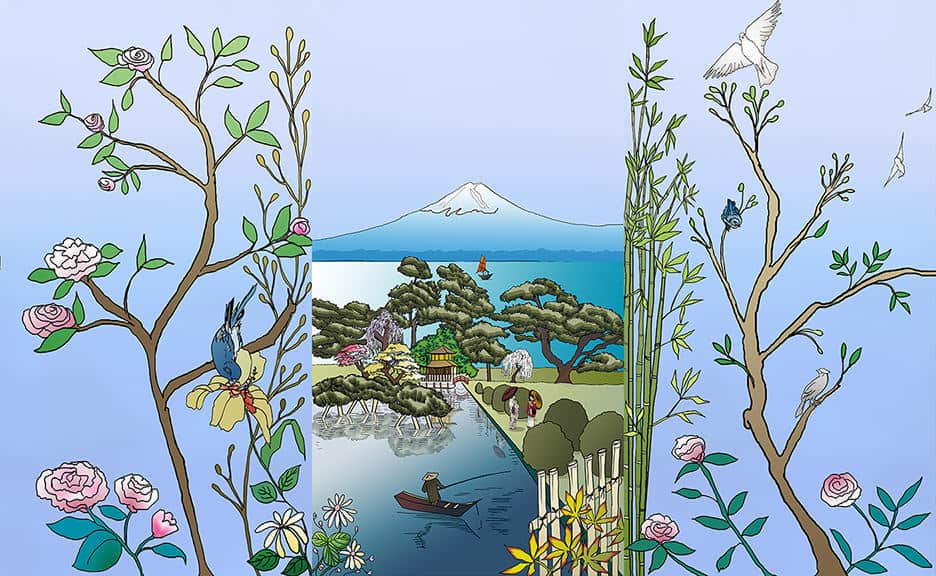 Casart coverings_Chinoiserie-Japan Mural GradientSky Combo_temporary wallpaper