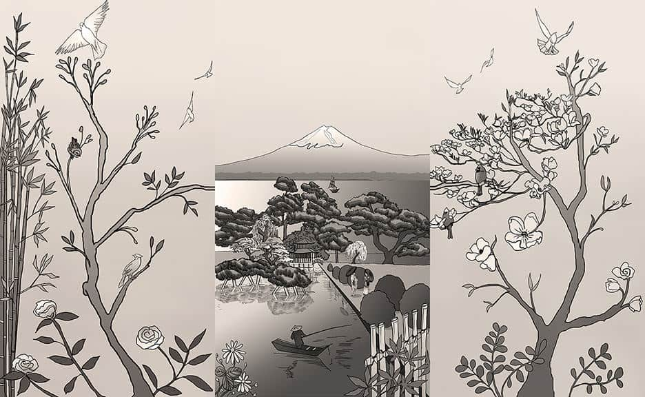Casart coverings_Chinoiserie-Japan Mural Sepia Combo_temporary wallpaper