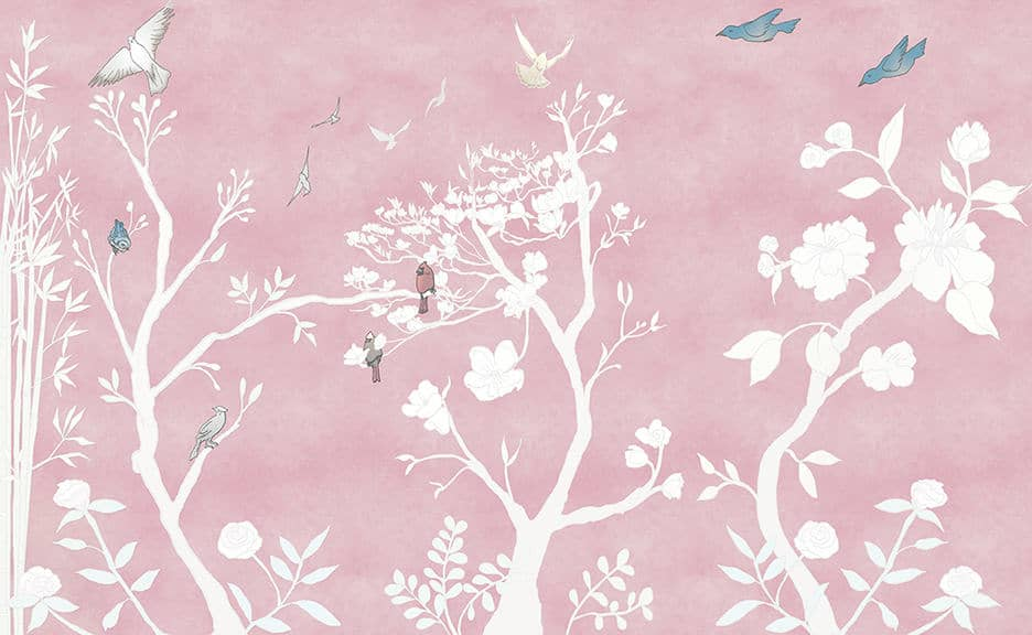Casart coverings_Chinoiserie Murals desat-dusty rose Combo_temporary wallpaper