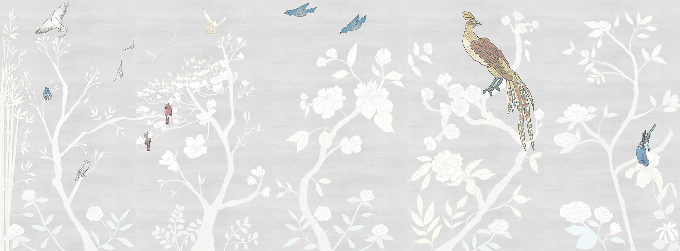 Casart coverings_Chinoiserie Murals desat-silver raw silk Combo_temporary wallpaper