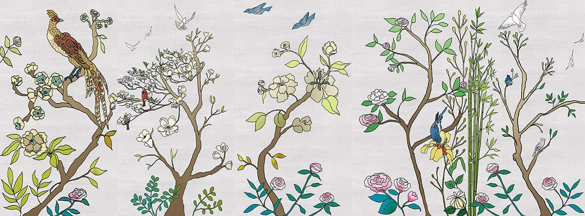 Casart coverings_Chinoiserie Murals desat-silver raw silk Combo2_temporary wallpaper