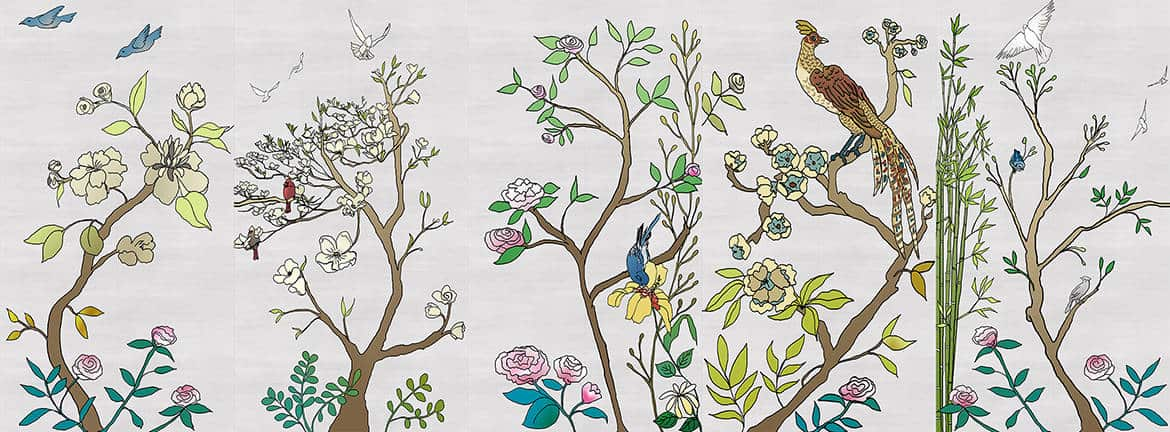 Casart coverings_Chinoiserie Murals desat-silver raw silk Combo3_temporary wallpaper