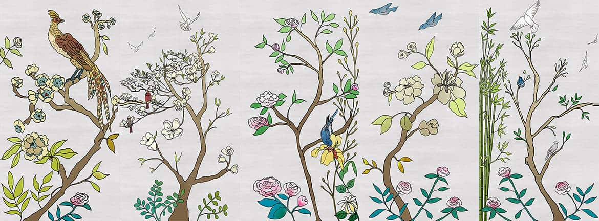 Casart coverings_Chinoiserie Murals desat-silver raw silk Combo4_temporary wallpaper