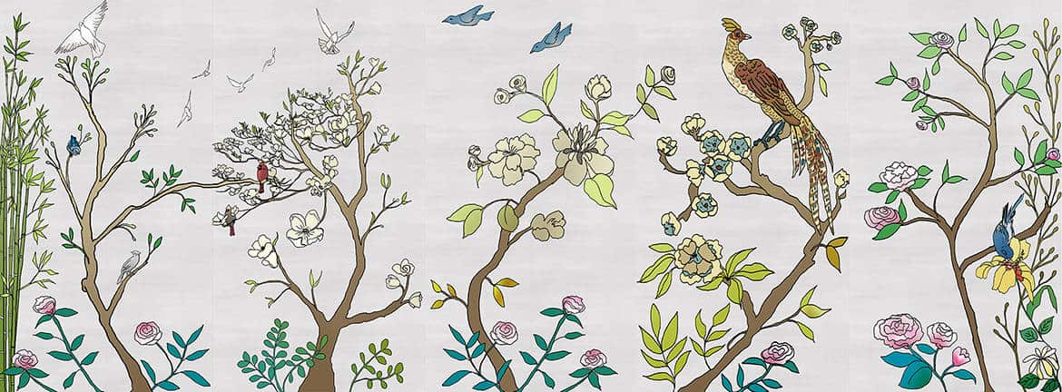 Casart coverings_Chinoiserie Murals silver raw silk Combo_temporary wallpaper