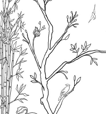 Casart_Chinoiserie Panel 1_Contour Lines_464x864_temporary wallpaper